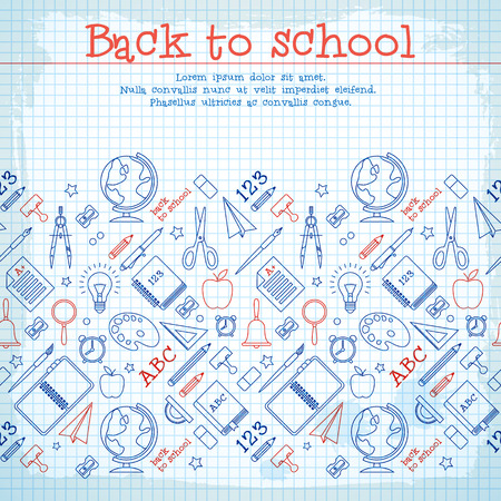School elements background with text and hand drawn supplies on paper sheet vector illustration