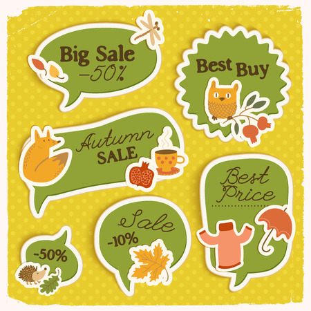 Seasonal sale green stickers set with inscriptions paper autumn elements on yellow dotted background isolated vector illustration Illustration