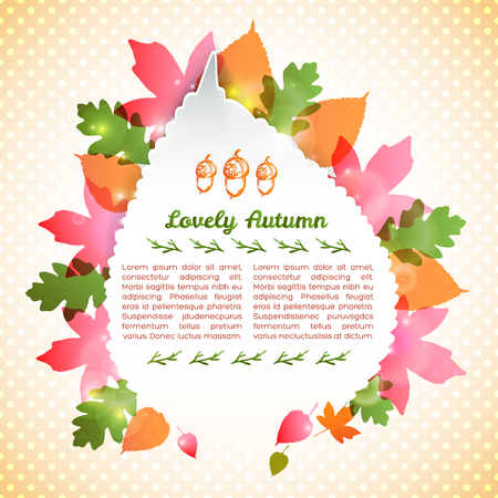 Abstract autumn poster with paper frame text acorns maple aspen oak leaves on dotted background vector illustration