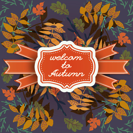 Autumn leaves seamless pattern on dark background and figured frame with calligraphic lettering and ribbons vector illustration