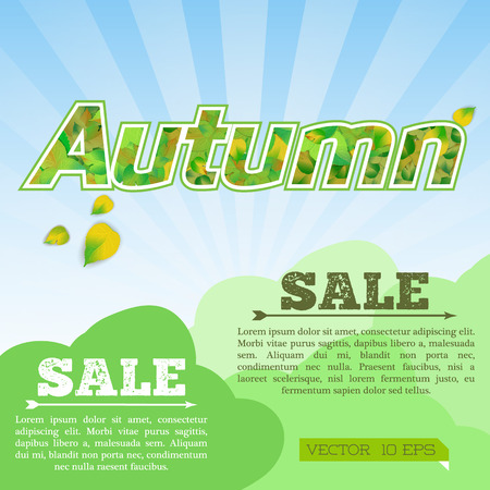 Light autumn sale poster with green floral inscription and falling leaves on blue sunburst background vector illustration Archivio Fotografico - 106388142