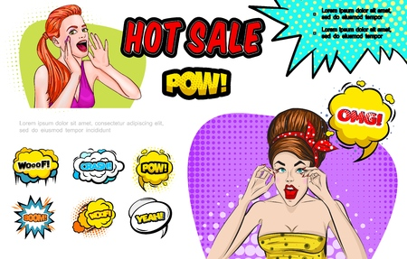 Pop art hot sale concept with screaming and surprised women colorful speech bubbles and different comic inscriptions vector illustration Illustration