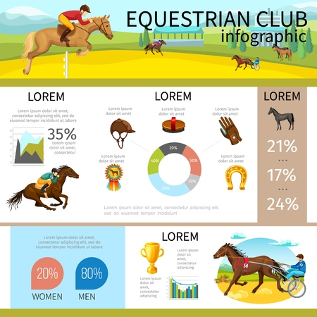 Cartoon equestrian club infographic template with jockeys riding horses cap glove horseshoe medal brush diagram graphs vector illustration Illustration