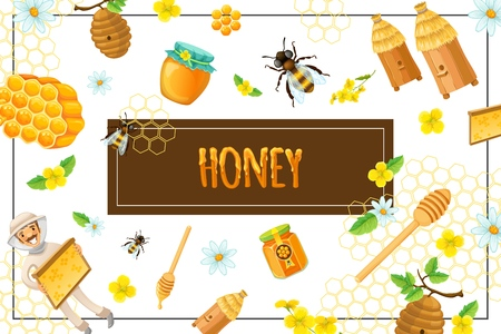 Cartoon organic honey concept with honeycomb flowers bees hives stick beekeeper pot and jar of sweet products in frame vector illustration Ilustracja