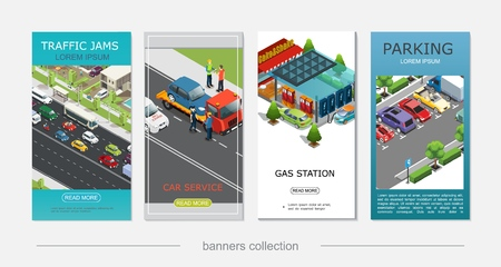 Isometric car service vertical banners with traffic jam roadside assistance gas and electric charging station parking vector illustration Archivio Fotografico - 106733838
