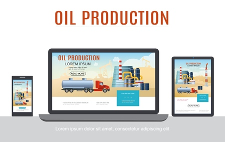 Flat oil industry adaptive design concept with tank truck petrochemical plant barrels on laptop phone and tablet screens isolated vector illustration