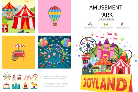 Cartoon amusement park infographic concept with rollercoaster ferris wheel hot air balloon food cart castle different attractions and carousels vector illustration