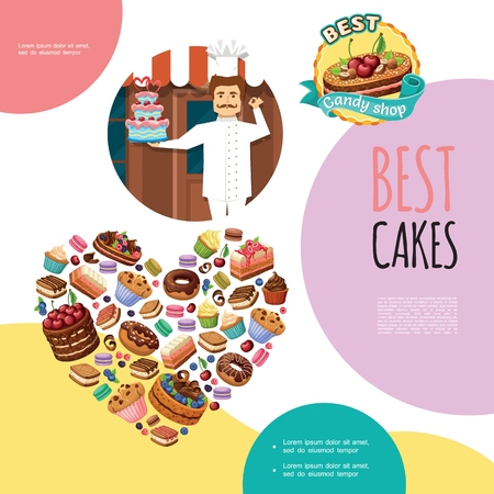 Cartoon sweet products template with confectioner tasty cakes donuts pie pieces muffins cupcakes macaroons in heart shape vector illustration