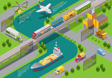 Isometric transportation infographic template with air water railway and land logistic transport and vehicles vector illustration Illustration