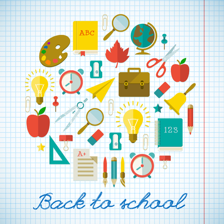 Back to school poster with colorful flat supplies and objects on paper sheet vector illustration