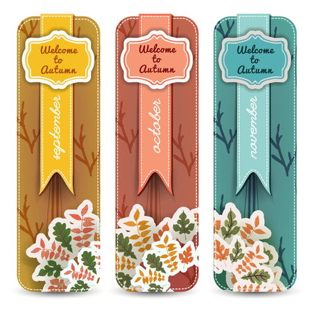 Set of vertical banners with autumn months on ribbons figured frames and leafy decoration isolated vector illustration