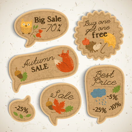 Vintage autumn sale stickers set with calligraphic inscriptions and traditional elements on light background isolated vector illustration