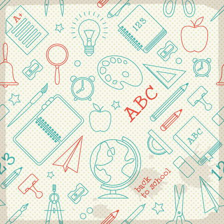 School supplies seamless pattern with sketch elements icons on dotted background vector illustration