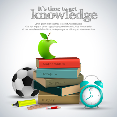 Knowledge stuff composition with books apple sosser ball and other attributes vector illustration