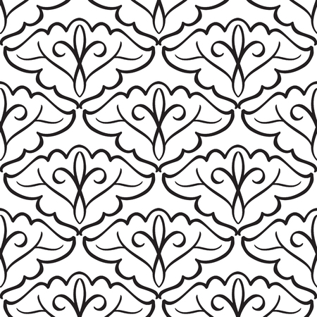 Monochrome abstract seamless pattern with black repeating elegant objects in minimalistic style on white background vector illustration