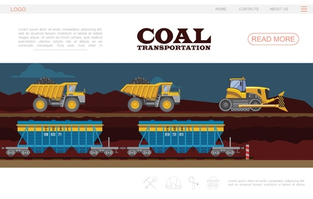 Flat coal transportation landing page template with bulldozer dump trucks and wagons vector illustration