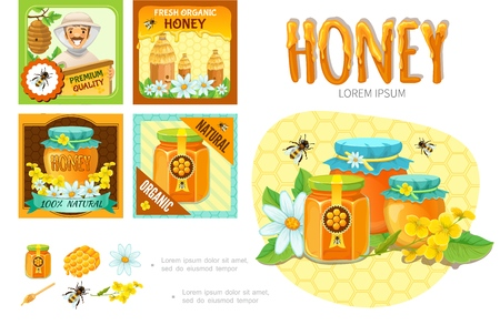 Cartoon beekeeping infographic concept with beekeeper hives honeycomb flowers clipper stick bees pots and jars of honey vector illustration Vettoriali