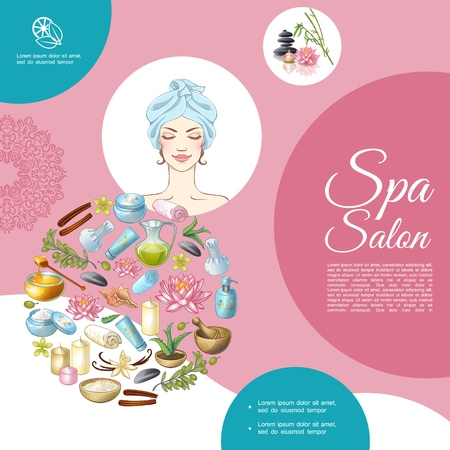 Cartoon spa salon composition with woman stones lotus flower aroma candles natural massage oils towel cinnamon sticks anise honey vector illustration