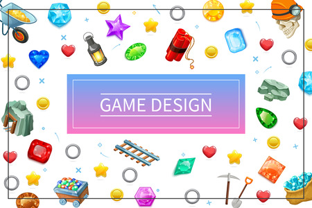 Cartoon game design UI elements concept with mine rails trolley colorful gemstones lantern pickaxe shovel dynamite minerals rings helmet in frame vector illustration