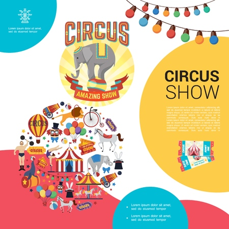 Flat carnival circus template with strongman trained lion elephant seal horse tent carousel clown tickets cannon bicycle acrobat tent balloons vector illustration Illustration