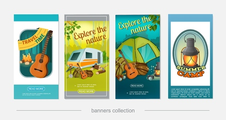 Cartoon colorful camping vertical banners with camper trailer guitar campfire axe shovel camera binoculars lantern backpack vector illustration