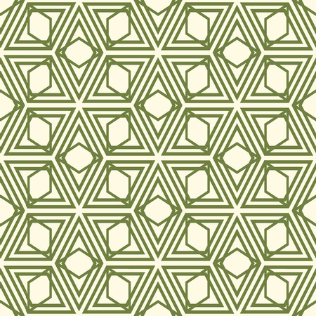 Minimalistic vintage geometric seamless pattern with green repeating rhombus shapes in monochrome style vector illustration