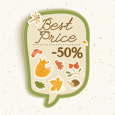 Autumn sale concept with fox sock leaves cowberry hedgehog dragonfly paper stickers on price tag isolated vector illustration