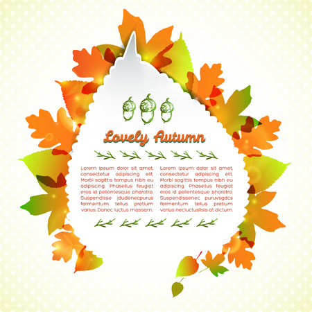 Lovely autumn greeting card in leaf shape with frame from colorful foliage on light background vector illustration