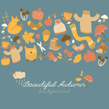 Doodle style background with fall foliage warm clothes and funny animal characters isolated images and decorative bottom title vector illustration
