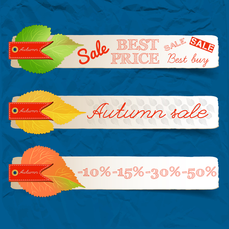 Abstract autumn sale natural horizontal banners with inscriptions and colorful leaves on blue crumpled paper vector illustration Stock Illustratie