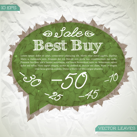 Autumn natural sale template with text and leaves in green cloud shape on crumpled paper background vector illustration