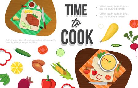 Flat healthy food template with cucumber tomato radish potato corn peas lemon beet chili pepper meat cheese vector illustration