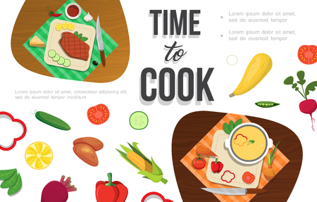 Flat healthy food template with cucumber tomato radish potato corn peas lemon beet chili pepper meat cheese vector illustration