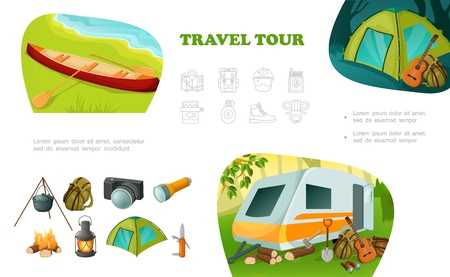 Cartoon camping colorful composition with camper trailer canoe tent guitar backpack pot on fire camera flashlight lantern knife axe vector illustration