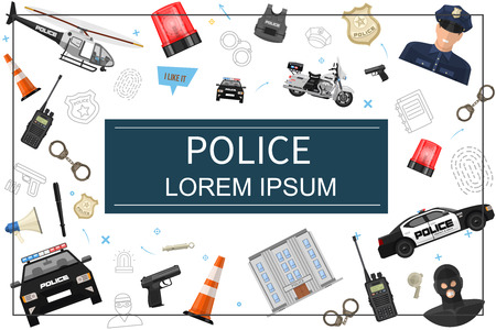 Flat police elements template with policeman helicopter sheriff badge helmet handcuffs handgun criminal siren transport baton megaphone in frame vector illustration