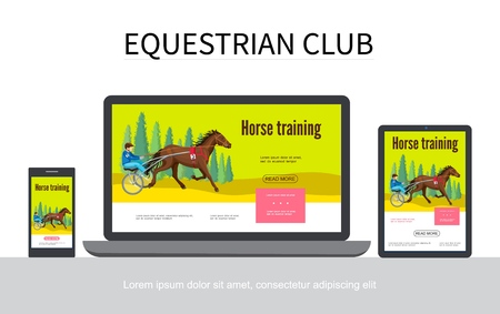 Cartoon equestrian sport adaptive design concept with jockey riding horse in chariot on laptop mobile tablet screens isolated vector illustration