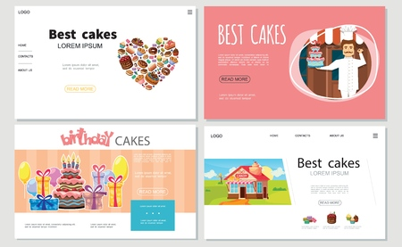 Cartoon sweets websites set with donuts macaroons cupcakes cakes muffins confectioner present boxes balloons candy shop vector illustration