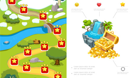 Cartoon game level design composition with route trees river stones waterfall treasure chest of gold coins vector illustration