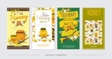 Flat natural honey vertical banners with bees clipper stick beehives honeycomb camomile flowers pots jars and barrels of sweet products vector illustration