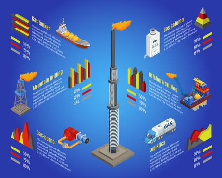 Isometric gas industry infographic concept with derrick tanker mountain drilling rig station offshore platform truck isolated vector illustration