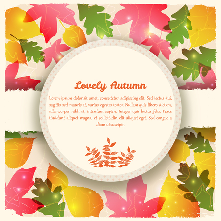 Abstract colorful autumn template with circle frame text torn paper maple aspen and oak leaves vector illustration Illustration