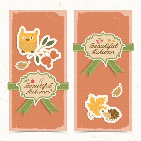 Two isolated vertical fall banners set with doodle style stickers owl with flower hedgehog with cloverleaf and decorative title vector illustration