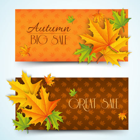 Natural autumn sale horizontal banners with inscriptions and colorful maple leaves on light foliage background vector illustration Illustration