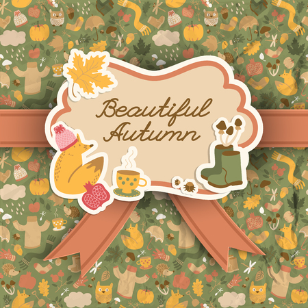 Fall doodle style background with seamless pattern design elements autumn images and decorative sticker with text vector illustration