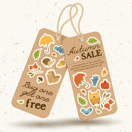 Vintage price tags autumn concept with sale inscriptions and seasonal elements on light background isolated vector illustration Illustration