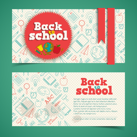 Education horizontal banners with sticker ribbons and sketch supplies icons on dotted background isolated vector illustration