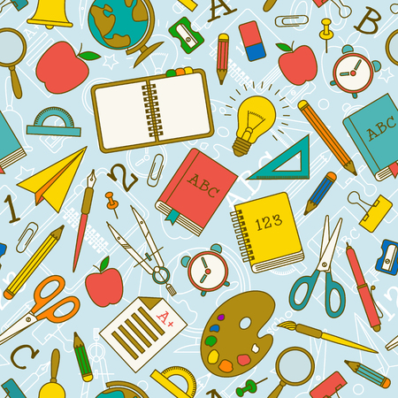 Back to school doodle seamless pattern with supplies and objects on light blue background vector illustration Standard-Bild - 111798726