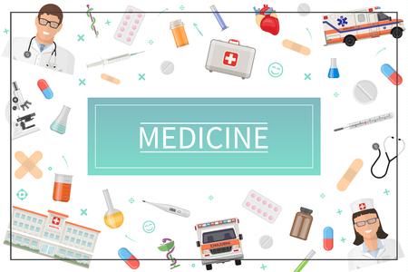 Flaches Gesundheitskonzept mit Arzt Krankenschwester medizinische Box Krankenwagen Auto Krankenhaus Pillen Drogen Labor Flaschen Mikroskop Gips Herz Thermometer Spritze in Rahmen Vektor Illustration Vektorgrafik