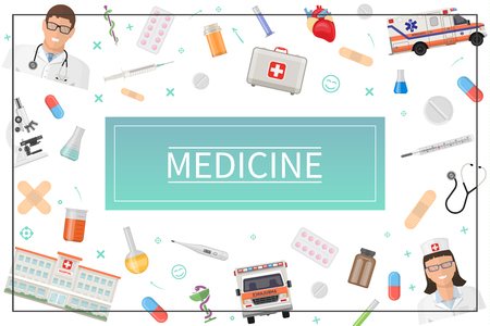 Flat healthcare concept with doctor nurse medical box ambulance car hospital pills drugs laboratory flasks microscope plaster heart thermometer syringe in frame vector illustration