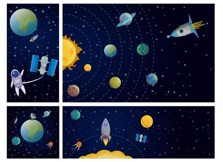 Flat solar system colorful composition with sun mercury venus earth mars jupiter saturn uranus neptune pluto planets astronaut spaceship satellite stars vector illustration Illustration